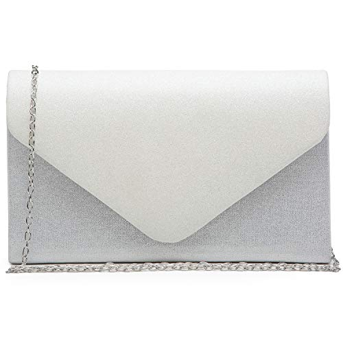 Dasein Women Evening Bags Formal Clutch Purses for Wedding Party with Shoulder Chain and Glitter Flap Ivory White