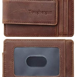 Toughergun Genuine Leather Magnetic Front Pocket Money Clip Wallet RFID Blocking(Crazy Horse Deep Brown)