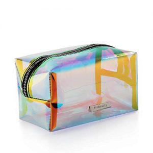 Holographic Makeup Bag Iridescent Cosmetic Bag Hologram Clutch Large Toiletries Pouch Holographic Handy Makeup Pouch Wristlets Organizer Women Evening Bag