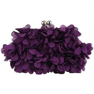 Fawziya Floral Clutch Purses For Women Satin Evening Bag-Purple