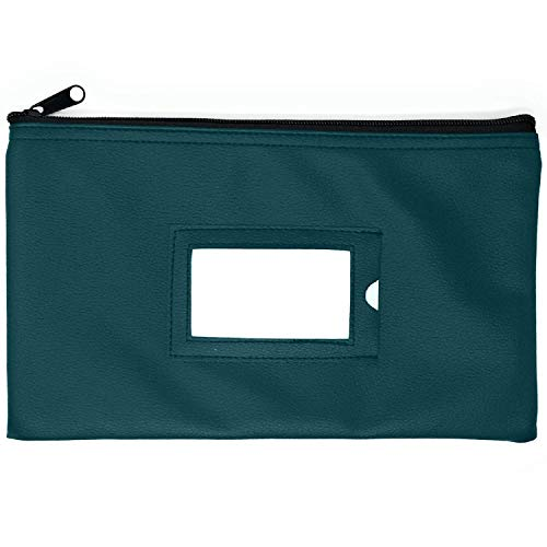 Money Bank Deposit Bag with Zipper | 11x6 inch | Green | Durable Leatherette Money Cash Coin Check Wallet Pouch for Men & Women with Framed ID Window and Blank Card | by GIDABRAND (1)