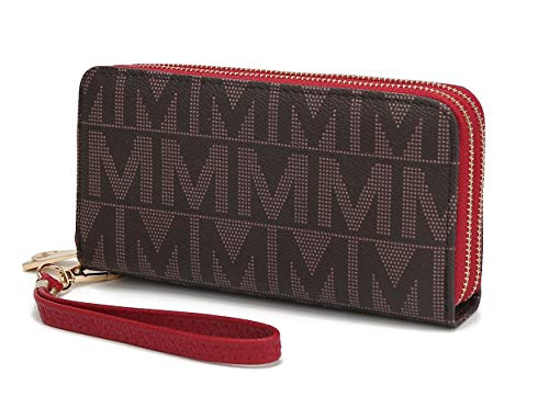 Mia K. Collection Wristlet Wallet for Women, Small PU Leather Handbag - Double Zipper Bag Multi Pocket clutch Purse, Red
