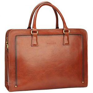 Banuce Full Grains Italian Leather Briefcase for Women Handbags 14 Business Laptop Bag Tote Attache Case Ladies Messenger Satchel Purses Brown