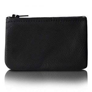 Zippered Coin Pouch, Change holder For Men/Woman made with Genuine Leather, Coin Purse, Pouch Size 4x2.5 inches, Made IN USA (Black)
