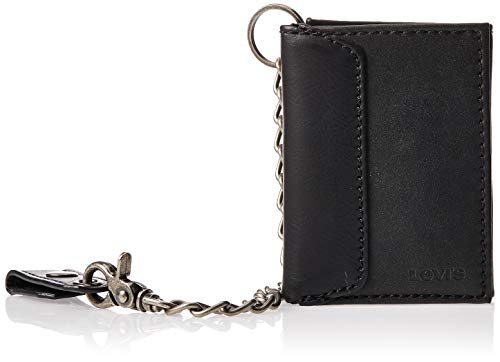 Levi's Men's RFID Trifold Wallet-Sleek and Slim Includes ID Window and Credit Card Holder, Black With Chain, One Size