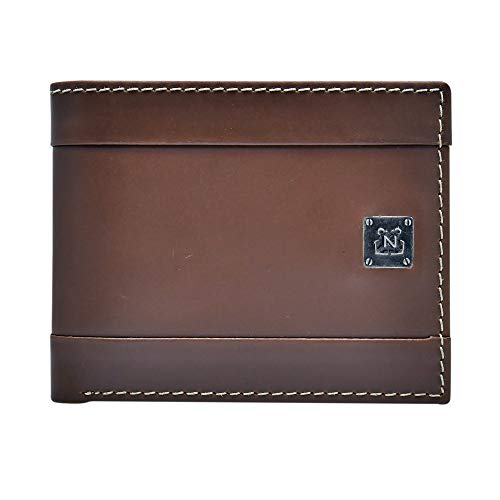 Nautica Men's Leather Passcase Wallet with Large Bill Compartment and ID Window, Light Brown, One Size