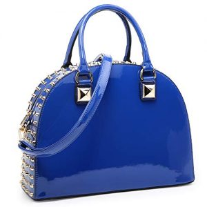 Dasein Patent Rhinestone Handbags for Women Studded Dome Zip Around Shoulder Bags Designer Purses (Blue)