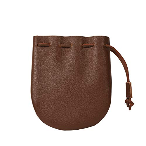 Leather Drawstring Pouch, Coin Bag, Medicine Tobacco Pouch Medieval Reenactment, Size 5 x 4.25 - Made in U.S.A. by Nabob Leather (Brown, Round Bottom)