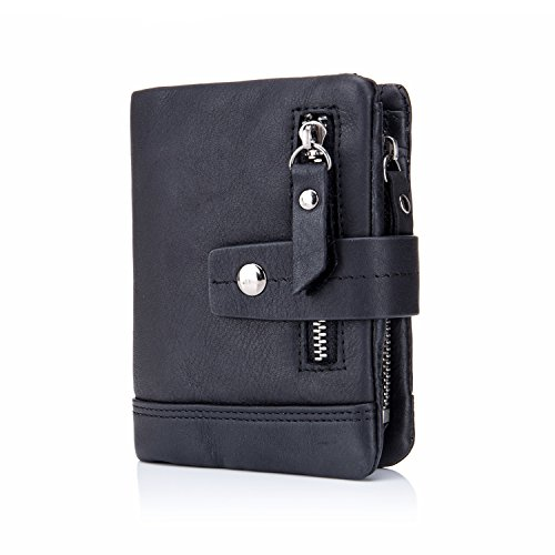 BULL CAPTAIN Men's Wallet Leather Front Pocket Premium Leather Bifold Wallets with Zipper Coin Pocket/Pouch QB-4 (Dark Black)