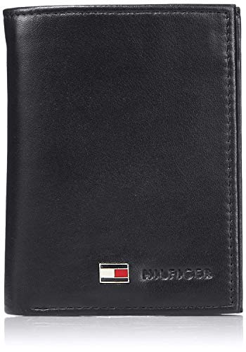 Tommy Hilfiger Men's Leather Trifold Wallet, Oxford Black, One Size