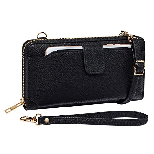 Womens Wristlet Wallet Crossbody Bag Cellphone Purse Handbag RFID Card Slots 2 Strap Wrist, Black, 8.3*4.3*1.4