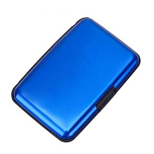 Elfish RFID Blocking Credit Card Protector Aluminum ID Case Hard Shell Business Card Holders Metal Wallet for Men or Women (blue)