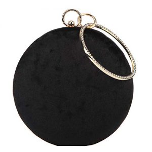 Fawziya Velvet Clutch Round Bag Rhinestone Purses For Women-Black