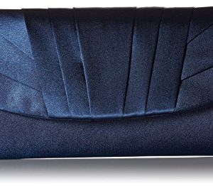 Jessica McClintock Angel Womens Satin Tuxedo Flap Evening Clutch Bag With Shoulder Chain Included, Navy