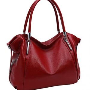 Heshe Women's Leather Handbag Shoulder Bags Work Tote Bag Top Handle Bag Ladies Designer Purses Satchel (Wine)