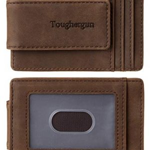 Toughergun Genuine Leather Magnetic Front Pocket Money Clip Wallet RFID Blocking(crazy horse coffee)