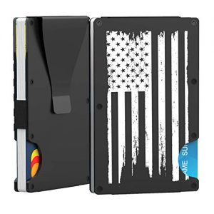 PROLIFE Wallet for Men Credit Card Holder Slim Minimalist RFID Aluminum Metal Business Bank Card Case with Money Clip, American Flag Design