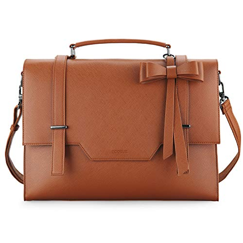ECOSUSI Laptop Messenger Bag Briefcase for Women Satchel Handbags 15.6 inch Laptop Bag Crossbody Purse with Padded Compartment for Office Travel College, Brown
