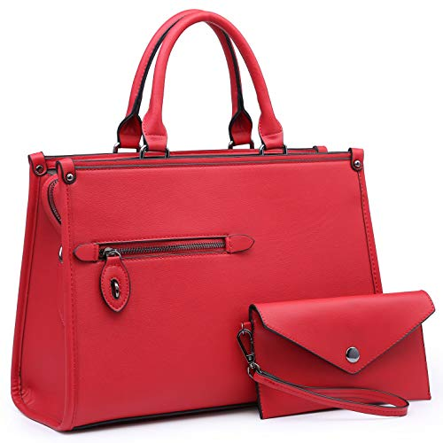 Dasein Women Satchel Handbags and Purses Shoulder Bags Top Handle Work Tote Bags for Ladies with Wallet (Red)