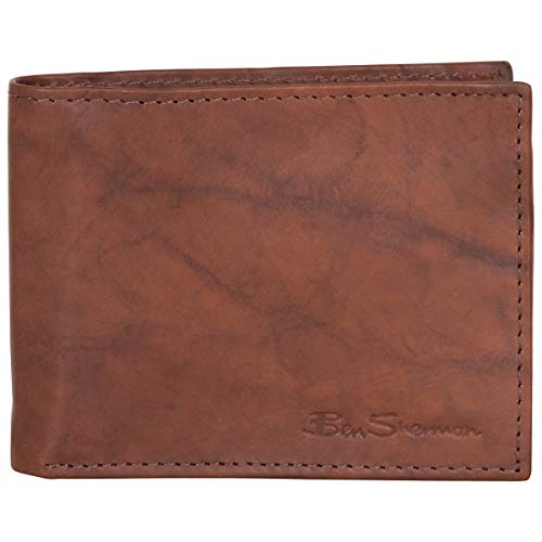 Ben Sherman Men's Bi-Fold Wallet, Marble Crunch Cognac Leather