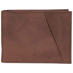 Ben Sherman Men's Bi-Fold Wallet, Smooth Marble Crunch Brown Leather