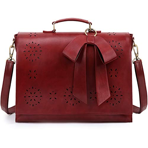 ECOSUSI Women's Briefcase Vegan Leather 15.6 inch Laptop Bag for School Shoulder Computer Satchel Bag with Detachable Bow, Red