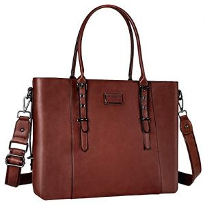 MOSISO PU Leather Laptop Tote Bag for Women (Up to 15.6 inch), Brown