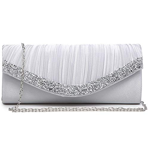 Dasein Women Satin Evening Bags Rhinestone Clutch Purses for Wedding Party Formal Dressy Handbag with Shoulder Chain Silver