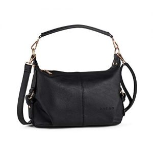 Small Hobo Handbag for Women Top Handle Crossbody Bag PU Leather Shoulder Purse Black + Katloo Nail Clipper