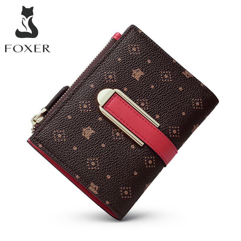 Foxer Female Signature Small Purse Embossing Wallet Mini Ladies Money Bag Chic PVC Leather Women Card Holder Fashion Clutch Bag