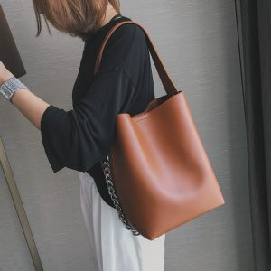 Burminsa Vintage Wide Strap Bucket Women Shoulder Bags Chain Design Large Capacity High Quality Female Shopper Bags Spring