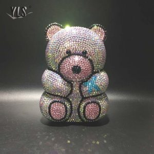 3D Cute Bear Diamond Evening Party Bag Women Clutch Purse Luxury Ladies Wedding Crystals Handbag Silver Blue Yellow 19