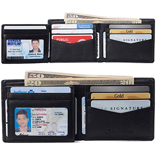 Alpine Swiss RFID Protected Mens Spencer Leather Wallet Bifold 2 ID Windows Divided Bill Section Comes in Gift Box Black