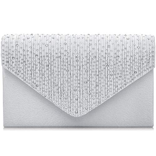 HEKATE Women Evening Bag Envelope Rhinestone Frosted Clutches Party Bridal Clutch Purse (Silver)