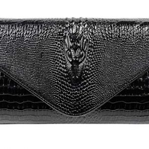 Bidear Envelope Clutch Purse Genuine Leather Party Handbag Evening Bags for Women (Leather-Black)