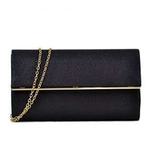 Women's Evening Bag Glitter Clutch Wedding Bridal Purse Sparkle Cocktail Party Prom Handbag Black