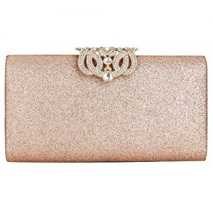 EROUGE Leather Sparkling Evening Clutch Purse Women Designer Handbag for Wedding Party, Rose Gold Color, One Size