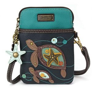 Chala Crossbody Cell Phone Purse - Women PU Leather Multicolor Handbag with Adjustable Strap - Turtles - Navy