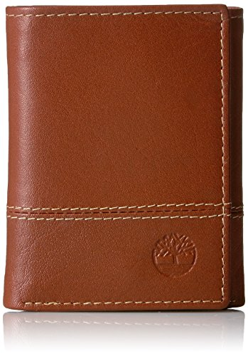 Timberland Men's Leather RFID Blocking Trifold Security Wallet, Cognac (Double Stitch), One Size