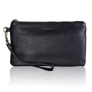 Black Genuine Leather Wristlet Clutch Cell Phone Wallet Purse Smartphone Wristlet Wallet Purses and Handbags for Women