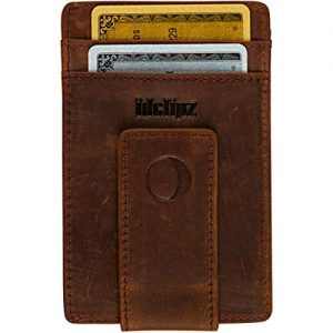 Slim Leather Money Clip Wallet for Men - Best Front Pocket Wallet with Credit Card Holder & ID Case - RFID Blocking (Brown)