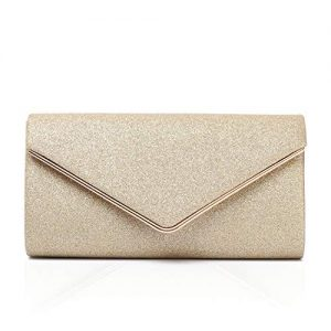 Labair Shining Envelope Clutch Purses for Women Evening Clutches For Wedding and Party,Gold,Small.