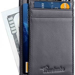 Travelambo Front Pocket Minimalist Leather Slim Wallet RFID Blocking Medium Size(05 NP Black)