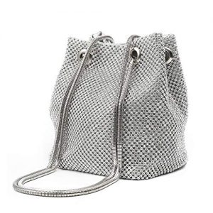 Women Evening Bag Cute Shoulder Bag Purse Crystal Rhinestone Clutch Bucket Crossbody Bags