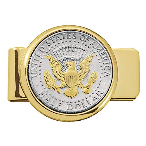 Coin Money Clip - Presidential Seal JFK Half Dollar Selectively Layered in Pure 24k Gold | Brass Moneyclip Layered in Pure 24k Gold | Holds Currency, Credit Cards, Cash | Genuine U.S. Coin