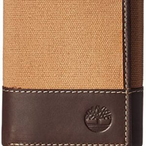 Timberland Men's Canvas & Leather Trifold Wallet, Khaki, One Size