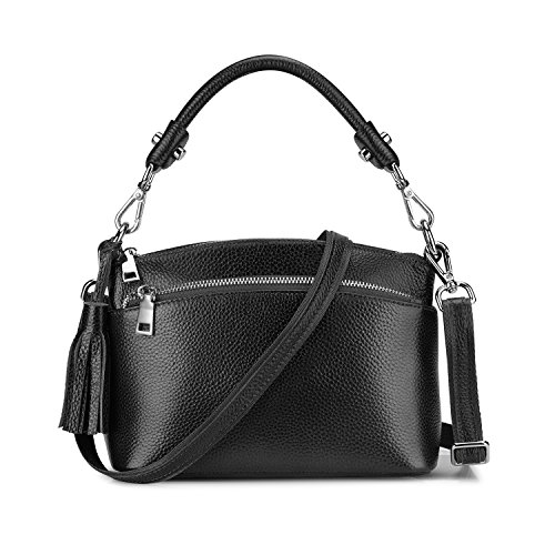 S-ZONE Small Genuine Leather Top Handle Handbags for Women Shoulder Bag Crossbody Purse (Black)