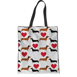 HUGS IDEA Women's Top Handle Bag Cartoon Kawaii Dachshund Dog Heart Printed Cotton Canvas Grocery Totes Beach Handbags for Teens
