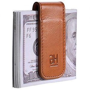 Slim Magnetic Money Clip Leather Minimalist Business Card Holder for Men, Brown