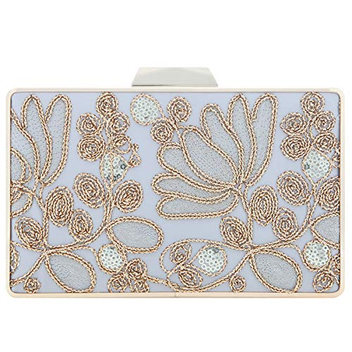 Fawziya Embroidery Wedding Clutch Satin Sequin Evening Bags And Clutches For Women-Silver